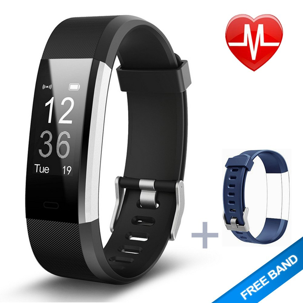Lintelek Fitness Tracker, Heart Rate Monitor Activity Tracker with Connected GPS Tracker, Step Counter, Sleep Monitor, IP67 Waterproof Pedometer for Android and iOS Smartphone by Lintelek (Image #1)