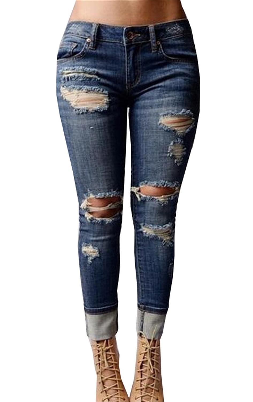 JOTHIN Blu Donna Gamba Dritta Donna Pantaloni Strappati Boyfriend Slim Fit Skinny Jeans Vita Alta Eleganti Leggings.