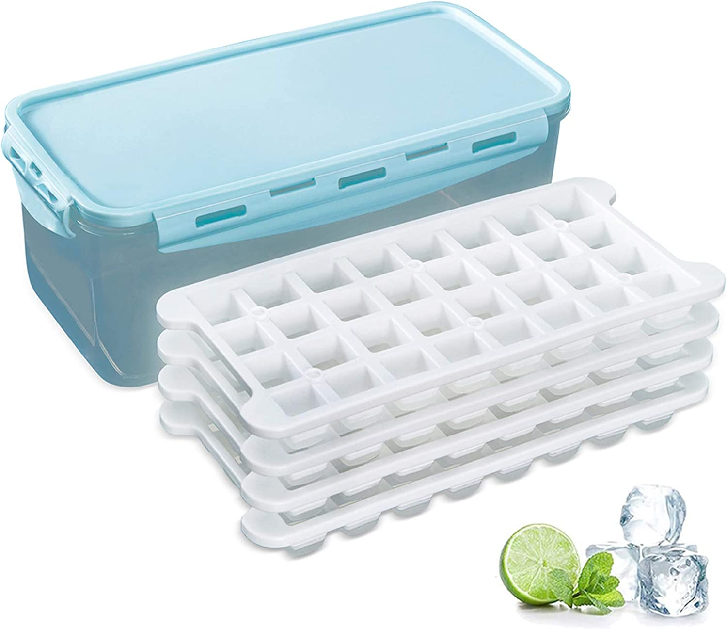 Silicone Ice Cube Trays and Ice Cube Storage Container Bin Set With Airtight Locking Lid, 4 Packs / 128 Trapezoid Ice Cubes