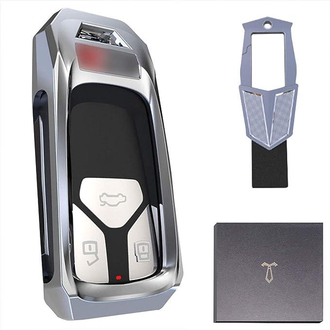 Autoschlüssel Hülle Passend Für Audi Schlüsselhülle Audi Q7 A4l A4 Q50l Q5l A5 S4 Tt Tts Ttrs Autoschlüssel Zinklegierungsschutz Hartschale Metallschlüsselring Silber Bekleidung