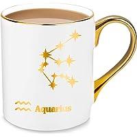 24K Gold Constellation Star Design Porcelain Coffee & Tea Mugs - 10oz - Gift Ideas for Birthday