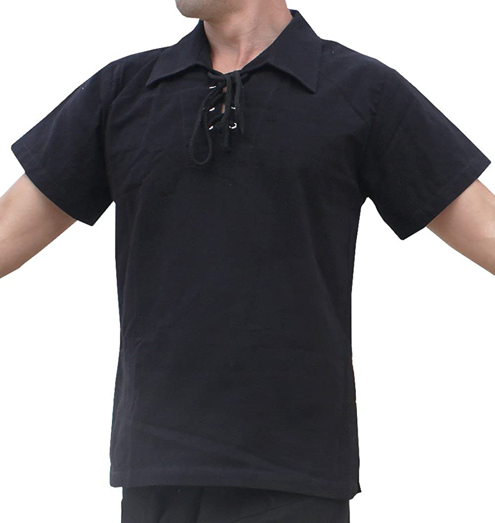1930s Style Mens Shirts RaanPahMuang Brand Light Cotton Wide Collar Medieval Renaissance Shirt Short Sleeve $23.79 AT vintagedancer.com