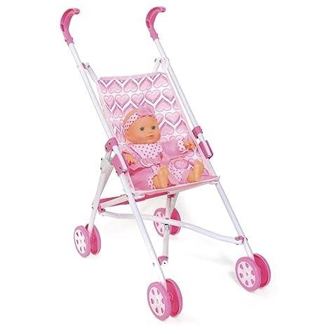 ColorBaby - Sillita paseo de pliegue de paraguas y muñeca, color rosa con corazones (