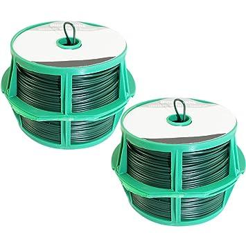 com-four® 100 Meter Bindedraht in grün, 2 Rollen mit je 50 Meter ...