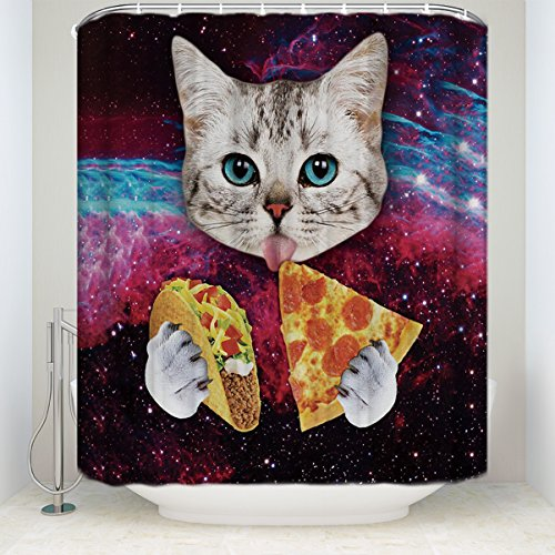 LALADecor Funny Shower Curtain Space Cat Eat Pizza Starry Sky Background Bathroom Decoration Polyester Fabric Shower Curtains 36 x 72 inch