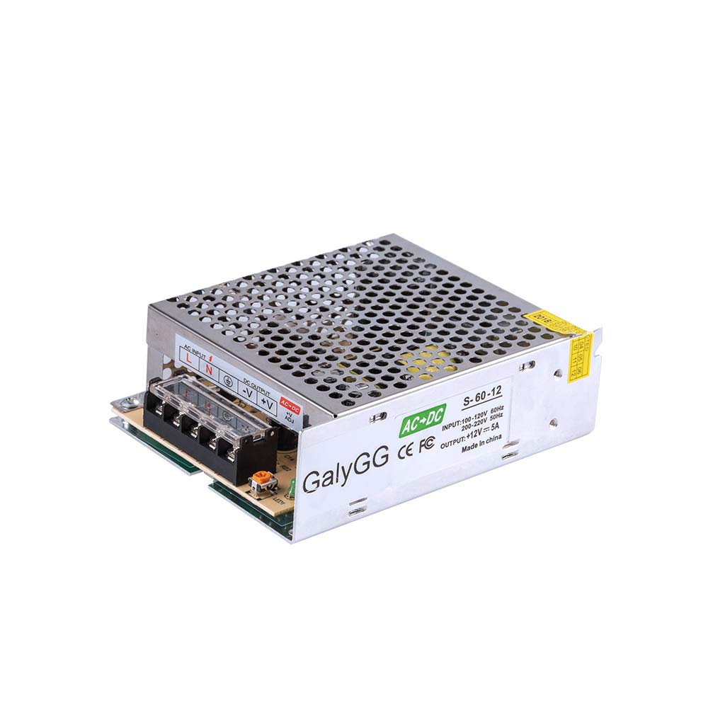 GALYGG 12V DC Switching Power Supply 5A 60W, Universal Regulated Transformer Converter AC 110V-220V to DC 12V, for LED Strip Lights, Radio, Computer Project