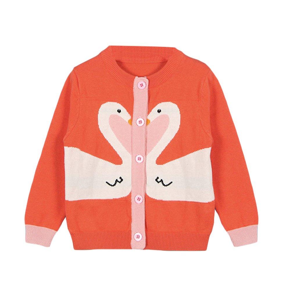 Baby Little Girls Cute Swan Button-down Fine Knit Cardigan Sweaters Crew Neck Sweatshirt Orange 90