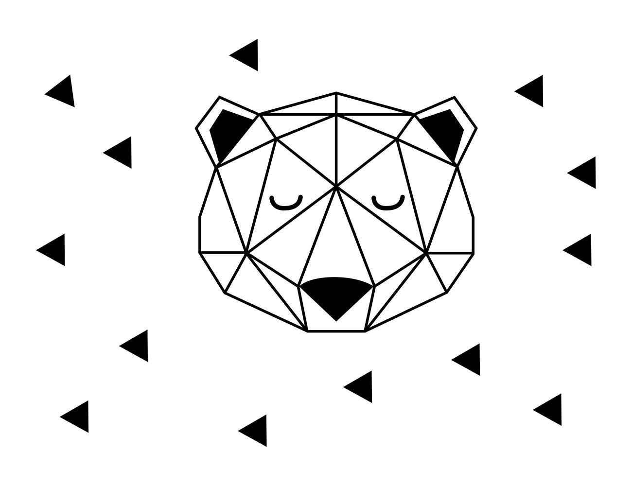 JUEKUI Woodland Bear Head with Triangle Wall Stickers Nordic Style Geometric Removable Vinyl Decals Home Decor WS31 (Black, M 42x50cm)