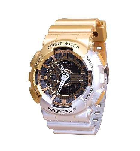 De la Mujer personalizado deportes Digital reloj oro caso novel Fashion correa de caucho fresco reloj de pulsera para los estudiantes: Amazon.es: Relojes