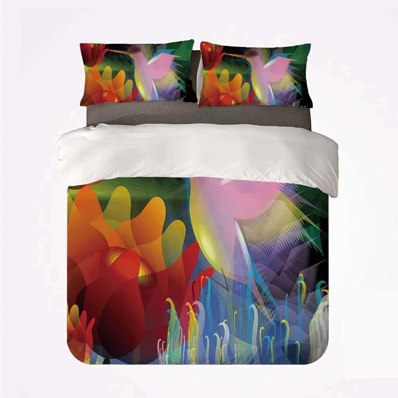 Yoyon Conjunto de Funda nórdica Art Comfortable 3 Bedding Set, Pintura Digital Fantasy con un pájaro traga Miel de Flower Stock Fractal Artwork Decorativo para Hotel