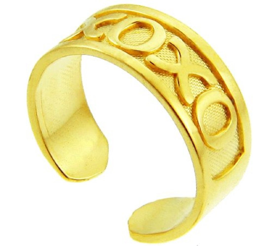 14k Gold Hugs and Kisses XOXO Toe Ring
