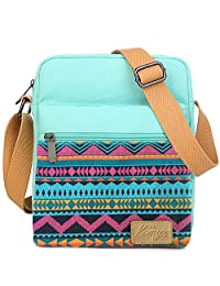 Kemy's Girls Stripe Tween Purses Set Small Crossbody Purse for Teen Girls Women Canvas Over Shoulder Messenger Bags for Traveling Easter Gifts, Teal Red