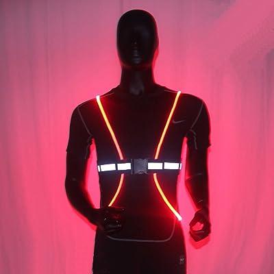 Haute visibilité Gilet réfléchissant Ceinture d exercice avec LED Lumineux  Fibre optique pour la course à pied, Jogging Vélo, marche, chien Marche,  moto, ... 7de49b488e8
