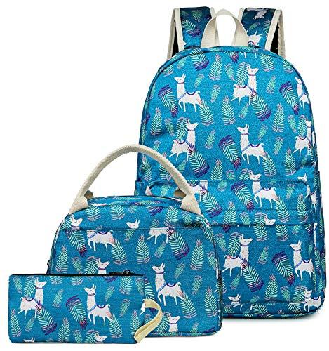 Backpack for School Girls Teens Bookbag Set Kids School Bag Travel Daypack (Alpaca turquoise-E0053) ()