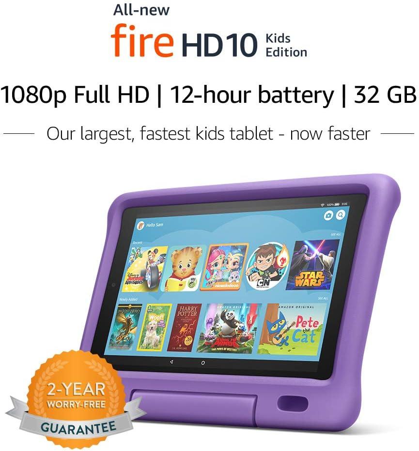 """All-New Fire HD 10 Kids Edition Tablet – 10.1"""" 1080p full HD display, 32 GB, Purple Kid-Proof Case"""