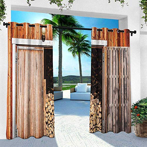 Rustic, for Patio Light Block Heat Out Water Proof Drape,Rustic Barn with Firewood Countryside Village Storage Garden Rural Life Concept, W96 x L108 Inch, Orange Brown (Village Block Country)