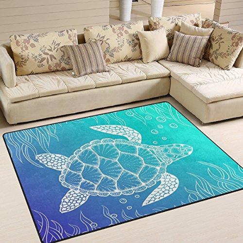 ALAZA Gradient Color Under Sea Turtle Kids Area Rug,Marine Animal Non-Slip Floor Mat Soft Resting Area Doormats for Living Dining Bedroom 5.3' x 4']()