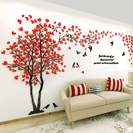 Buy Adeeing Wall Stickers For Living Room Small Lovers Tree 3d Wall Sticker Artistical Wall Stickers For Family Living Room Bedroom Wall Decoration Online At Low Prices In India Amazon In