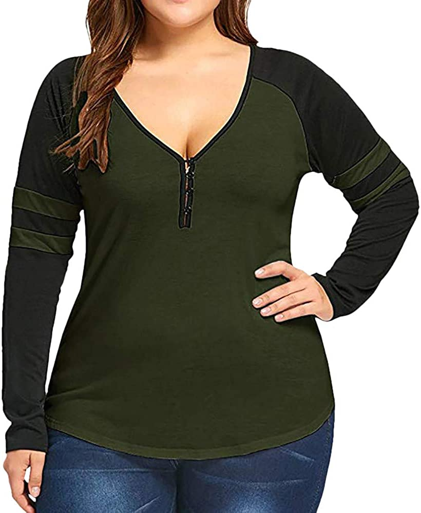 Low-Cut V-Neck Blouse Tops for Women Long Sleeve Casual Shirt Color Match Plus Size Basic Sport Tank Shirt XL-5XL