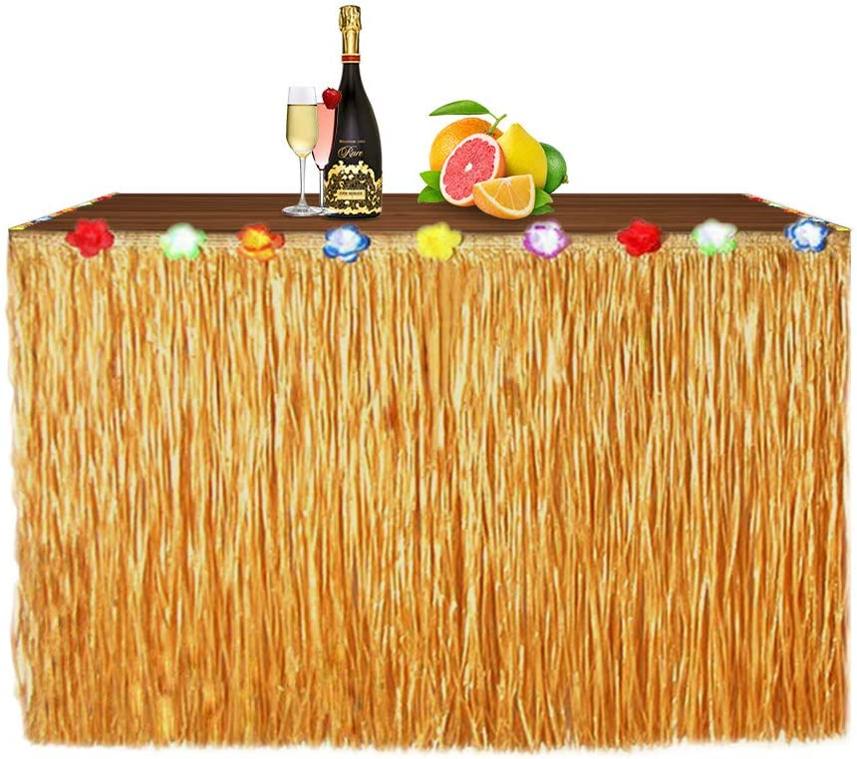 Newland Luau Grass Table Skirt for Hawaiian Party, Moana Theme Tropical Birthday Party Decorations Ideas Supplies, Luau Hawaiian Party Decorations, Drop artificial grass table skirt (Straw yellow)