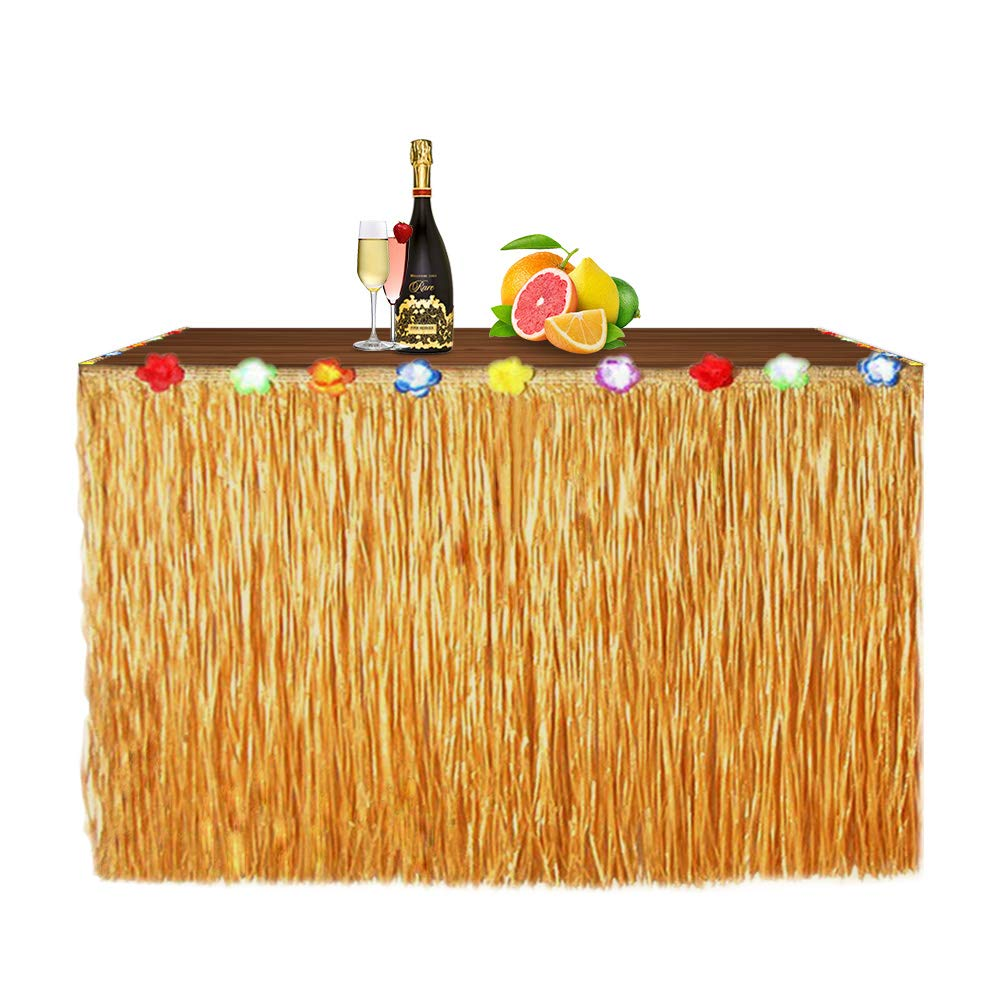Newland Luau Grass Table Skirt for Hawaiian Party, Moana Theme Tropical Birthday Party Decorations Ideas Supplies, Luau Hawaiian Party Decorations, Drop artificial grass table skirt (Straw yellow) by Newland