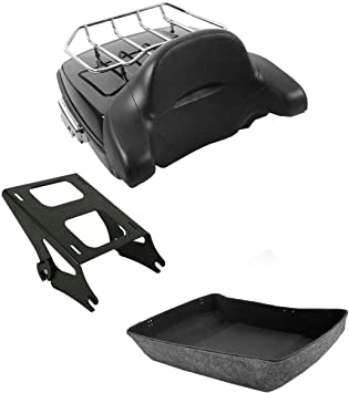 XFMT Chopped Tour Pack Trunk Razor Backrest Pad W//Two Up Mounting Rack For Harley Tour Pak Touring 2014-2020
