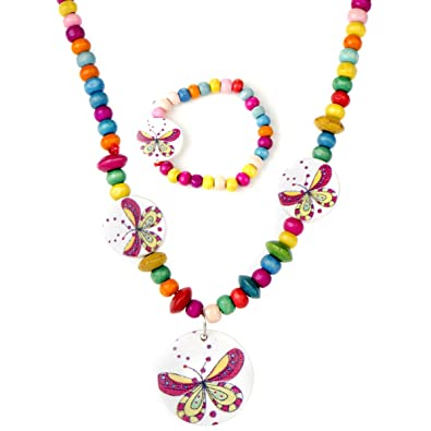 Good Coloured Wooden Butterfly And Bead Necklace And Bracelet Set Clients First Costume Jewellery Jewellery & Watches