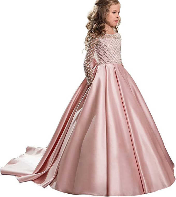 Christmas Flower Girl Dress Floor Length Button Draped Tulle Ball Gowns for  Kids