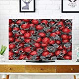 Jiahonghome tv Protective Cover College Football Helmets Headgear Competition Defense Sportsman Image Pattern Red tv Protective Cover W19 x H30 INCH/TV 32''