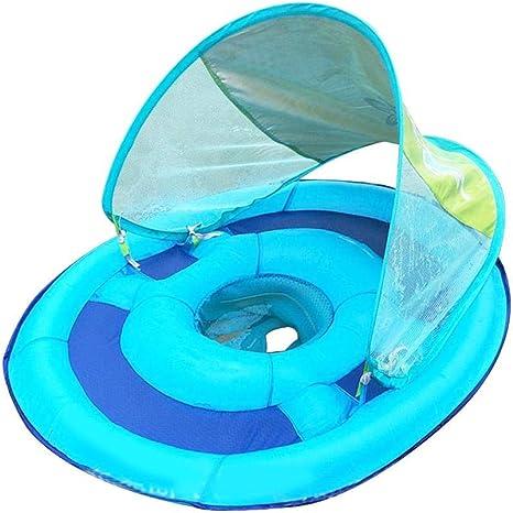 Juman634 Piscina Inflable para bebés con sombrilla Malla del Anillo de natación para niños con Bolsillo Inferior Asiento para bebé Barco para niños de ...