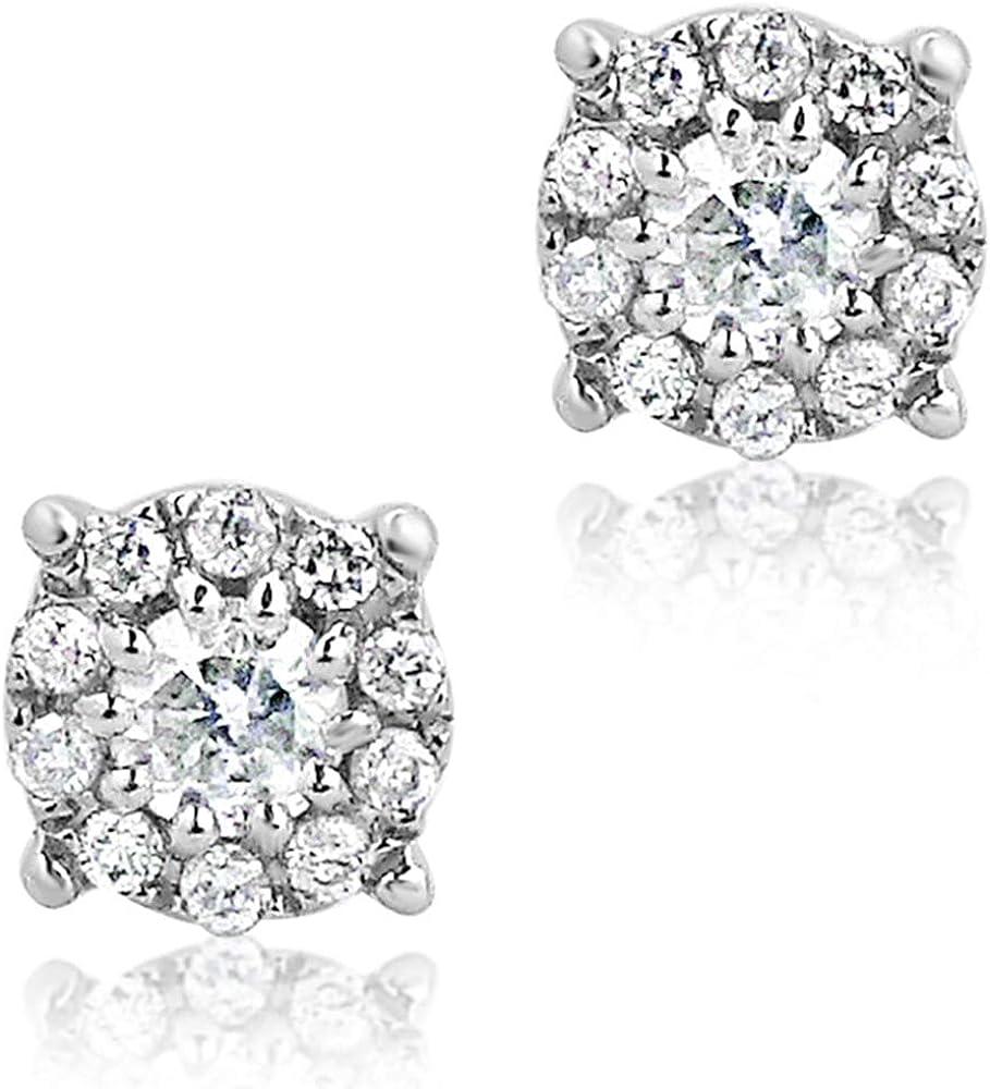 MILLE AMORI ∞ Pendientes Mujer Oro y Diamantes - Oro Blanco 9 Kt 375 ∞ Diamantes 0.20 Kt