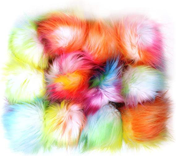 Pom Poms 12 Pcs Pom Pom Balls Rainbow Fur Fluffy Pom Pom for Hat Shoes Scarves Bag Charms-Gift (Rainbow A)