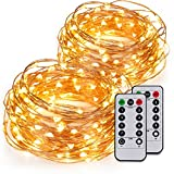 Kohree 2 Pack 60LEDs Fairy String Lights with Remote Control - AA Battery Powered on 20ft Long Ultra Thin String Copper Wire - Decor Rope Lights For Christmas - Wedding - Parties