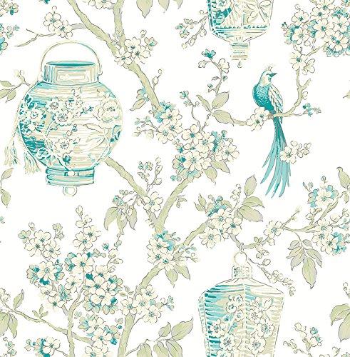 FD22760 - Mirabelle Room White/Turquoise Birds lanterns Fine Decor Wallpaper