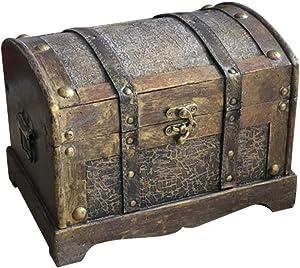 Amosfun Vintage Treasure Box Wooden Pirate Chest Box Retro Jewelry Storage Organizer for Gem Storage Desktop Decor (Without Lock Size S)