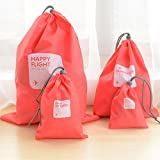 4 pieces Waterproof Travel Drawstring Bag Shoe Laundry Underwear Makeup Storage Pouch