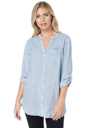 86ce2825f80b5 ... Notch Neck Denim Shirt - Ladies Blouse Flattering Loose Comfy Casual  Spring Summer Chic Holiday Elegant Top Blouses Denim ShirtTunic Longline  Shirts