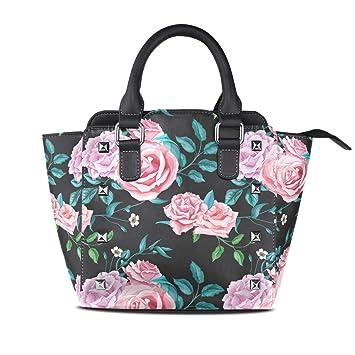 Amazon.com  Women s Soft Black Flower Rose Microfiber Leather Tote Bag Big  Capacity Handbag  Suzan Galluup