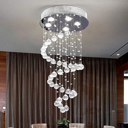 Lumos Modern Crystal Chandelier Rain Drop Lighting fixture 5 Lights