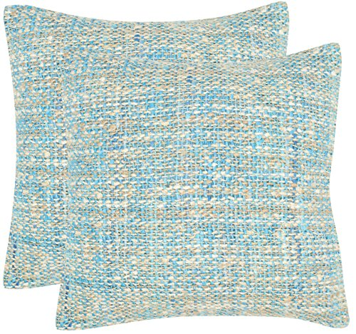 Safavieh Pillow Collection Throw Pillows, 20 by 20-Inch, Carrie Playful Blue, Set of 2