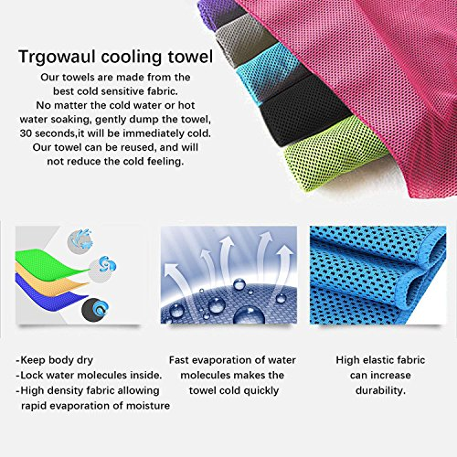 Trgowaul Cooling Towels 6 Pack, 40 x 12 Inches, Ice Towel, Soft Breathable Chilly Towels, Microfiber Towel for Yoga, Sport, Running, Gym, Workout,Camping, Fitness, Workout & More Activities by Trgowaul (Image #3)