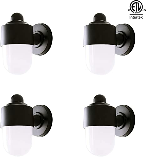 Fudesy 4 Pack Jelly Jar Light 4w Waterproof Plastic Outdoor Wall Lights Black Wall Mount Light Fixture For Porch Patio Warm White Fds216b4
