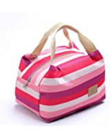 Suma-ma Stripe Insulation Lunch Bag, Thermal Insulated Zipper Package (Hot pink)