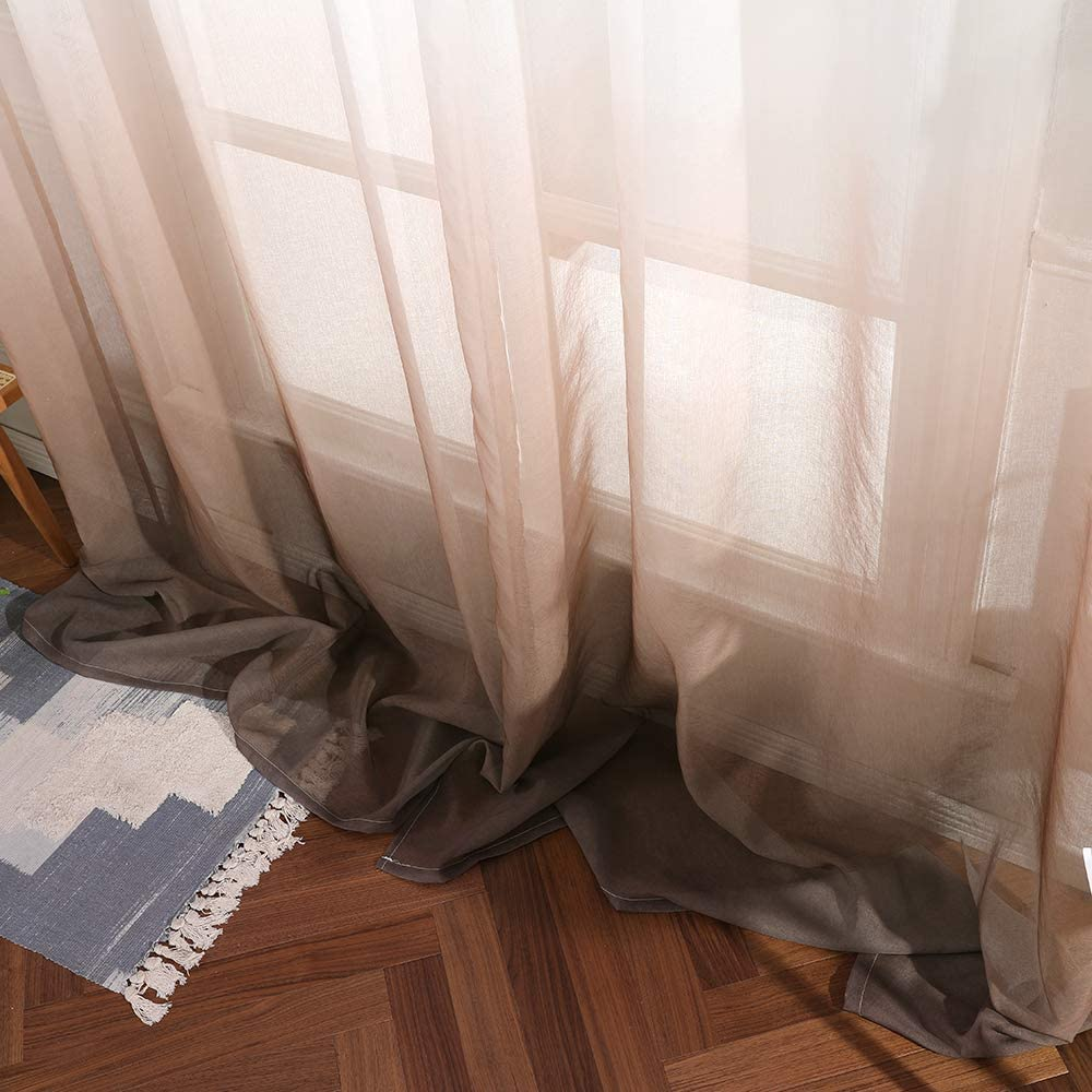 MIULEE 2 Panels Color Gradient Sheer Window Curtains Elegant Window Voile Panels//Drapes//Treatment for Bedroom Living Room 55 Wx88 L Grommet Top Blue+Coffee