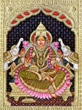 Goddess Lakshmi - Tanjore Painting on Board - Traditional Colors with 24 Karat Gold