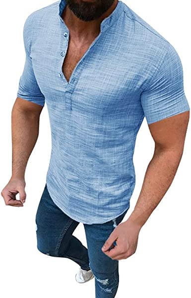 Luckycat Algodón Lino Camisa Hombre de Manga Corta Henry Camisas Blusas Casual Camisa de Hombre Blusa