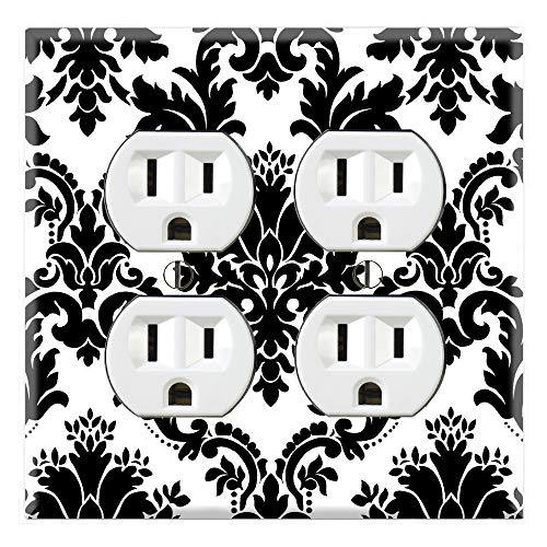 (Graphics Wallplates - Black and White Damask - Quadplex Outlet Wall Plate Cover)