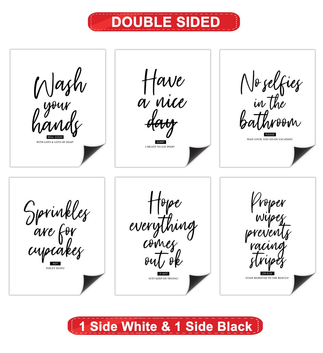 Double Sided Bathroom Decor Unframed Great Inspirational Gift Home Wall Art Prints Set of 6 Funny Bathroom Quotes and Sayings Rules Posters Modern Typography Toilet Toilet Humor