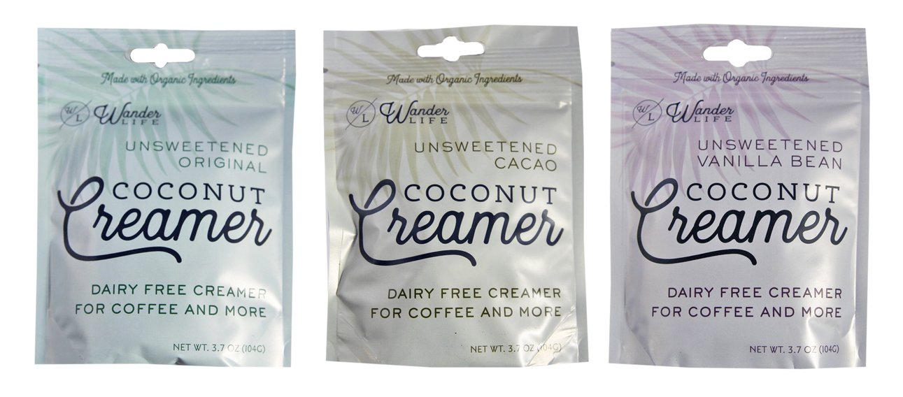 Wander Life Coconut Creamer Unsweetened 3 Pack : Unsweetened Original, Unsweetened Vanilla Bean, Unsweetened Cacao