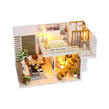Amazoncom Elegant Wooden Furniture Diy House Miniature Box Puzzle